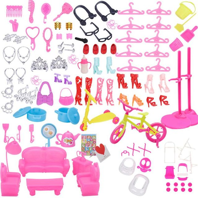 94pcs Doll Furniture Pretend Play Toy Sofa Shoes Jewelry For Doll Brabie Kelly Doll House Accessories Girl Present  Wholesale 2