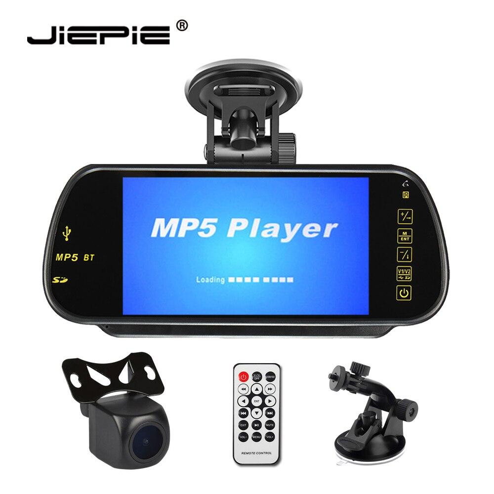 Car 7 inch Rear View Mirror Monitor MP5 Support USB SD BT FM Transmission Starlight Night Vision Rear View Camera Parking Kit
