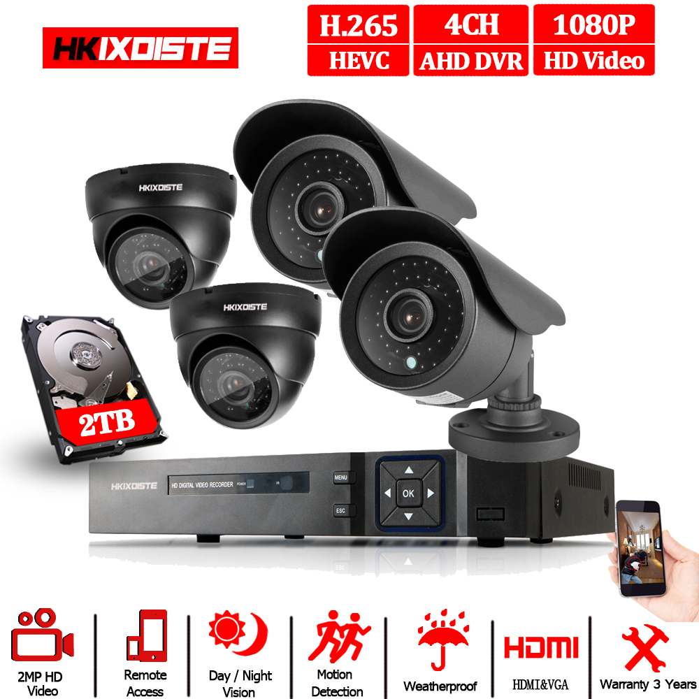 1080P HDMI HD 4CH DVR Outdoor CCTV Home Security Camera System Monitor Kit TO