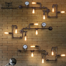 American Industrial LOFT Wall Lamps Iron Rust Water Pipe Retro Wall Lamp Bar Cafe Decor Wall Sconce Lamp Balcony Aisle Lighting vintage loft style edison clock wall lamps sconce industrial lighting retro wood gear wall lighst fixtures iron water pipe lamps