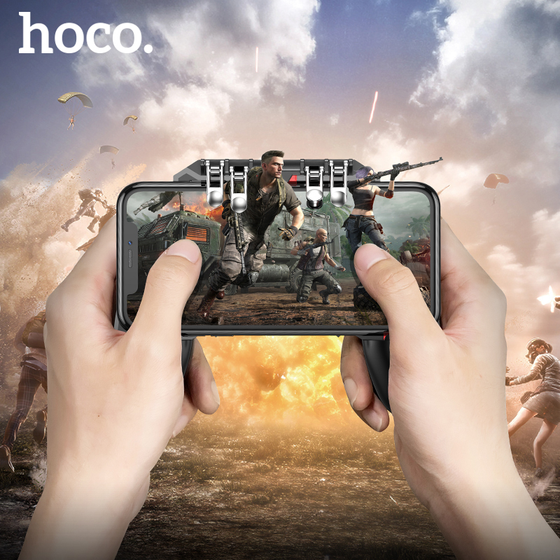 HOCO pubg Mobile Game Controller Gamepad Metal Trigger Free Fire Button Shooting Games Joystick L1R1 For IOS Android MobilePhone