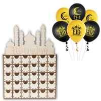 Calendario de Adviento Eid Mubarak Ramadán de madera, cajón de cuenta atrás, decoraciones de castillo islámico musulmán, adorno