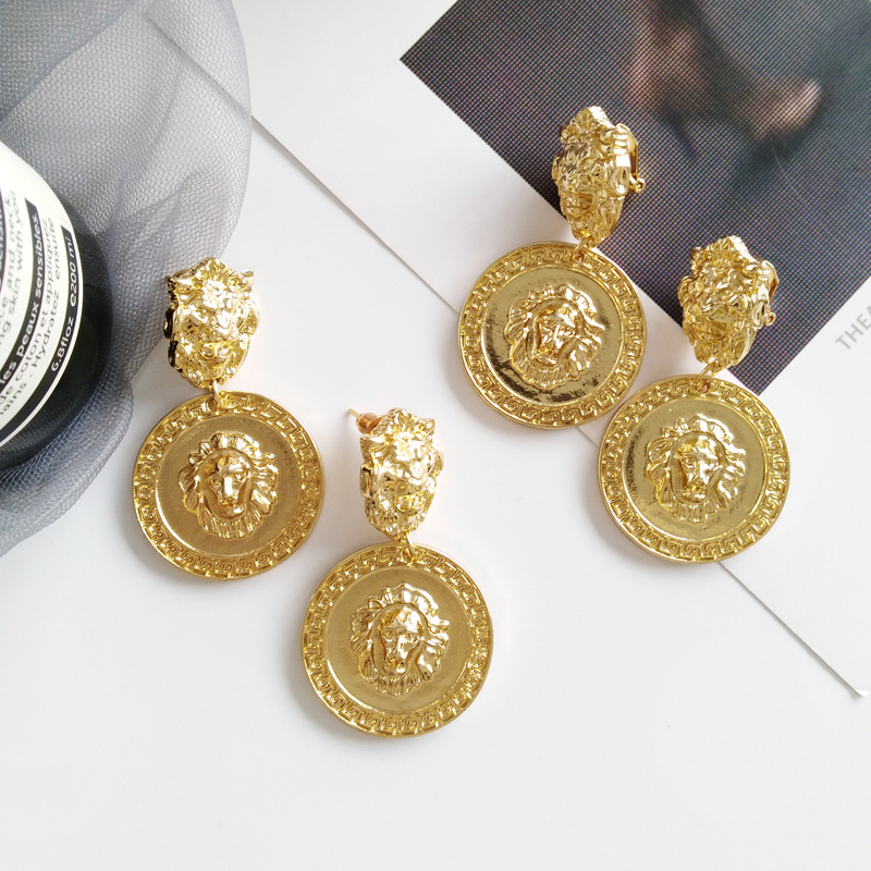 Fashion Creative Geometric Retro Personality Earrings For Women Girls Temperament Gold Color Round Earring Party Wedding Jewelry