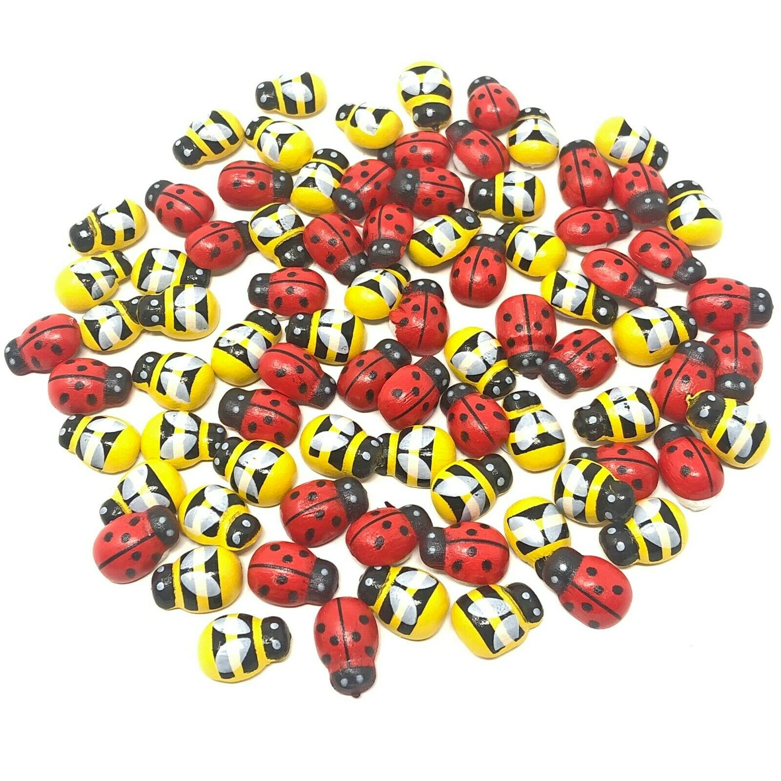 100pcs Mini 9x12mm Mixed Yellow Bees & Red Ladybirds Wooden Craft Card Wood Toppers Self-adhesive DIY Easter Crafts