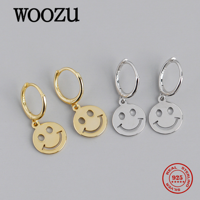 WOOZU Real 925 Sterling Silver Cute Lucky Smiley Face Pendant Dangle Earrings for Fashion Party Office Jewelry Accessories Gifts