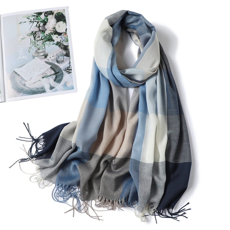 Winter Scarf Plaid Long Shawl Fashion Headband Wraps Women Scarves Bandana Hijab Tassels Female Foulard Cotton Feeling Stoles(China)