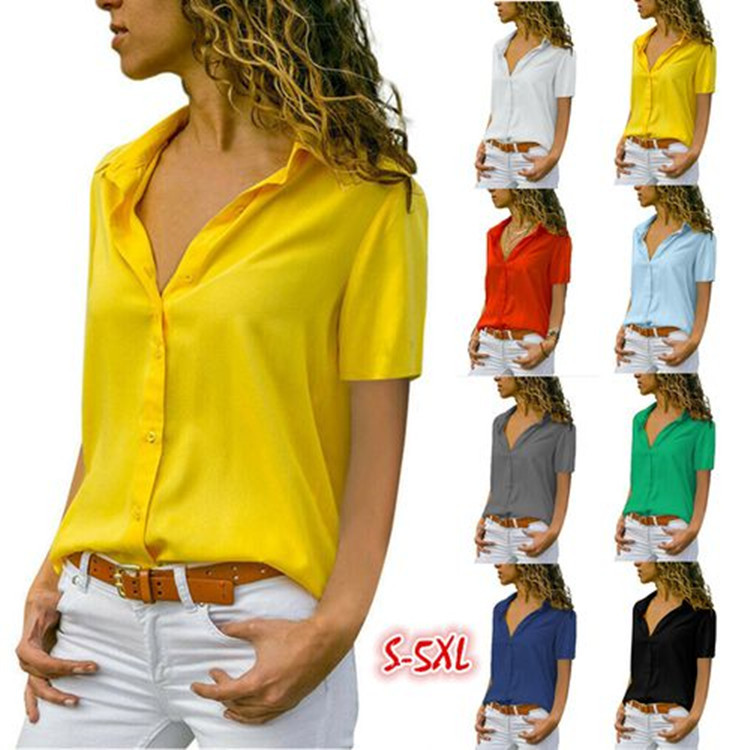 Elegant Lapel Office Lady Work Wear Shirt Women Solid Short Sleeve Chiffon Blouses Summer White Yellow Blouse Tops Plus Size 5XL