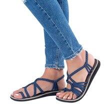 Красивые женские сандалии; сандалии-Вьетнамки в римском стиле с перекрестными ремешками; Летняя обувь; пляжная обувь на плоской подошве с плетеным ремешком; повседневные сандалии-гладиаторы