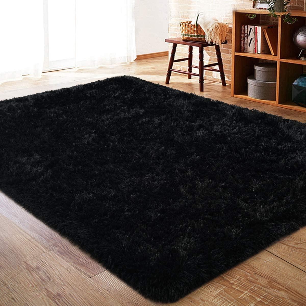 Super Soft Bedroom Area Rugs Shaggy Plush Carpet Rectangle Fluffy Bedside Rug Colorful Multi Plush Fuzzy Decorative Floor Carpet