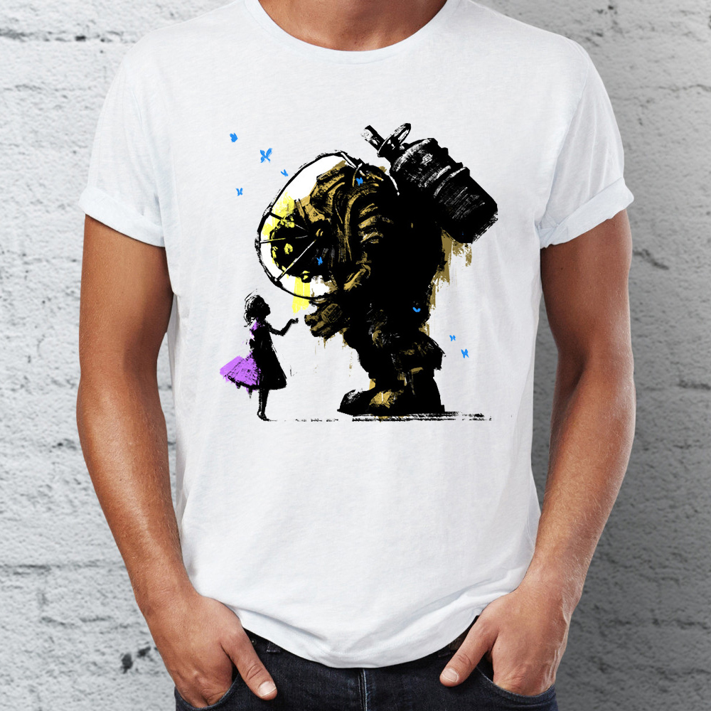Men's T Shirt Bioshock Big Daddy And Little Sister Splicer Gaming Badass Artsy Tee