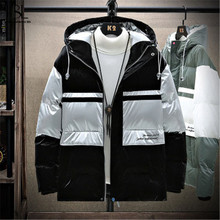 Down-Jacket Overcoats Clothing Hooded White-Duck-Down Thicken Winter Fashion Zipper Patchwork