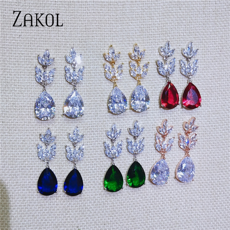 ZAKOL Romantic Bridal Wedding Accessories Jewelry Exquisite Teardrop Cubic Zircon Leaf Dangle Earrings with Rose Gold FSEP012