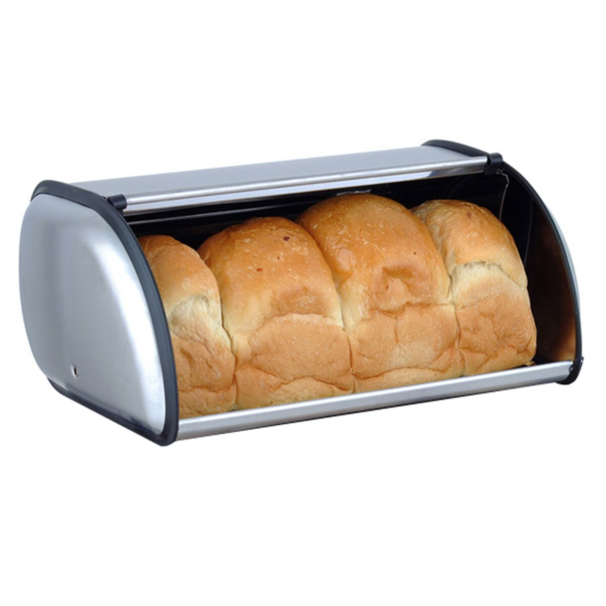 Stainless Steel Roll Top Bread Box Storage Bin Keeper Food Storage Container Pastry Bread Baking Holder Kitchen Supplies Silver