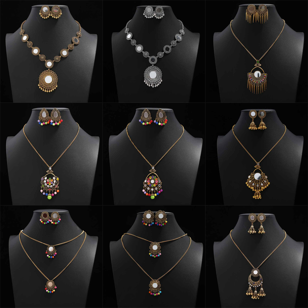 Vintage Indian Big Statement Jewelry Set for Women Copper Gold Color Choker Necklace Earrings Set Wedding Party Gift Accessories