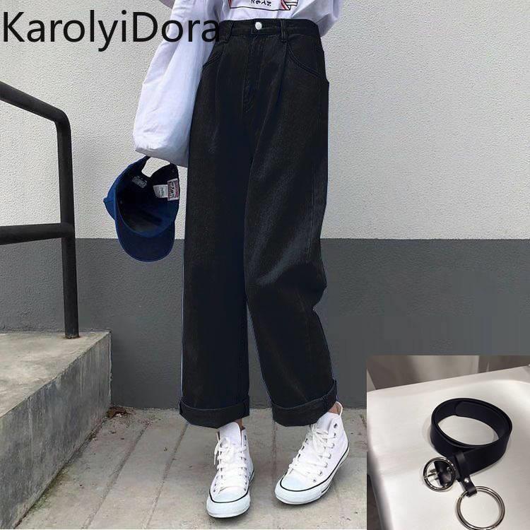 Jeans Women Solid Vintage High Waist Wide Leg Denim Trousers Simple Students All-match Loose Fashion Harajuku Womens Chic Casual 3