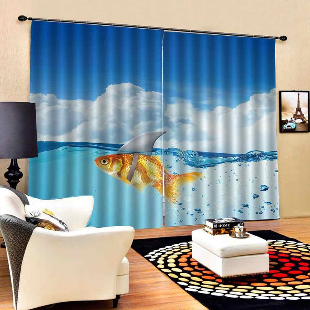 Blue curtains sky water Luxury Blackout 3D Window Curtains For Living Room Bedroom Drapes cortinas