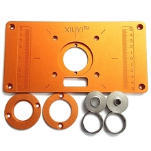 Aluminum Router Table Insert Plate with Bushing Ring Screw Trimming Machine Flip Plate for Woodworking Benches Trimmer