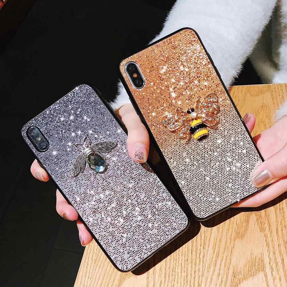 11pro FAI DA TE di cristallo Bee Pendente nappa supporto Del Basamento Del Telefono Per il caso di iPhone 11 PRO MAX 6 6s 8 7 più XSMAX XR Gradiente di Scintillio Coque