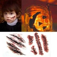 Временная татуировка на Хэллоуин, водостойкая, мгновенная, прошитая, на рану, страшные шрамы, удобная татуировка, наклейка для декора на Хэллоуин
