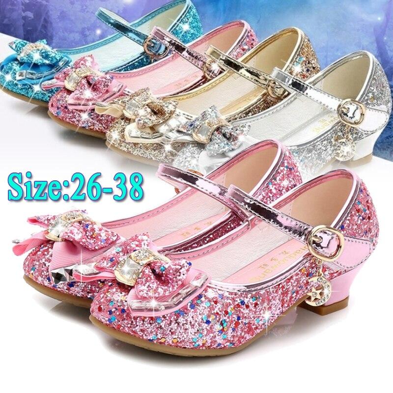 Детские кожаные туфли принцессы для девочек, повседневные блестящие туфли с цветами и бантом-бабочкой на высоком каблуке для девочек, синие...