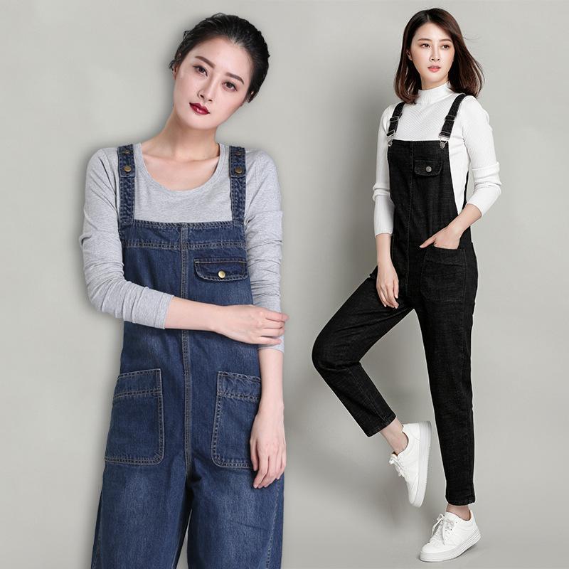 2019 Plus Size Jeans Jumpsuits Women's Denim  Korean Jumpsuits Trousers Women's Bib Pants Rompers Womens Jumpsuit S-6XL