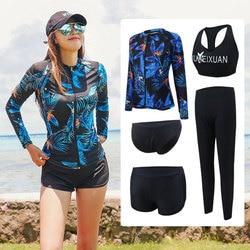 Conjunto de 5 peças femininas rash guards completa manga longa e pernas maiô proteção solar uv zip up top & bottoms nadar surf barco camisa