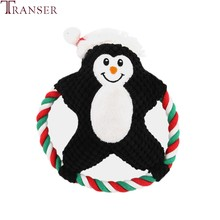 Transer 1pc Penguin Christmas Santa Pet Dog Rope Toy Chew Bite Interactive Outdoor Fun Train Pet Toys for Small Large Dogs 912(China)
