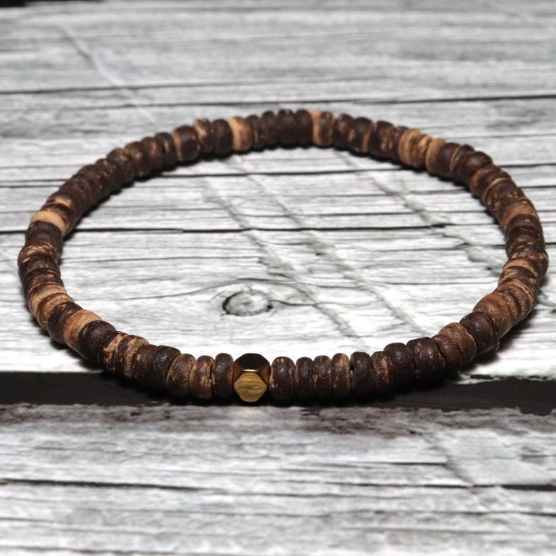 Minimalistischen 4mm Natürliche Holz Armband Für Männer Strang Braslet Perlen Unregelmäßigen Wenge Holz Brazalete Geschenk Für Ihn Zubehör