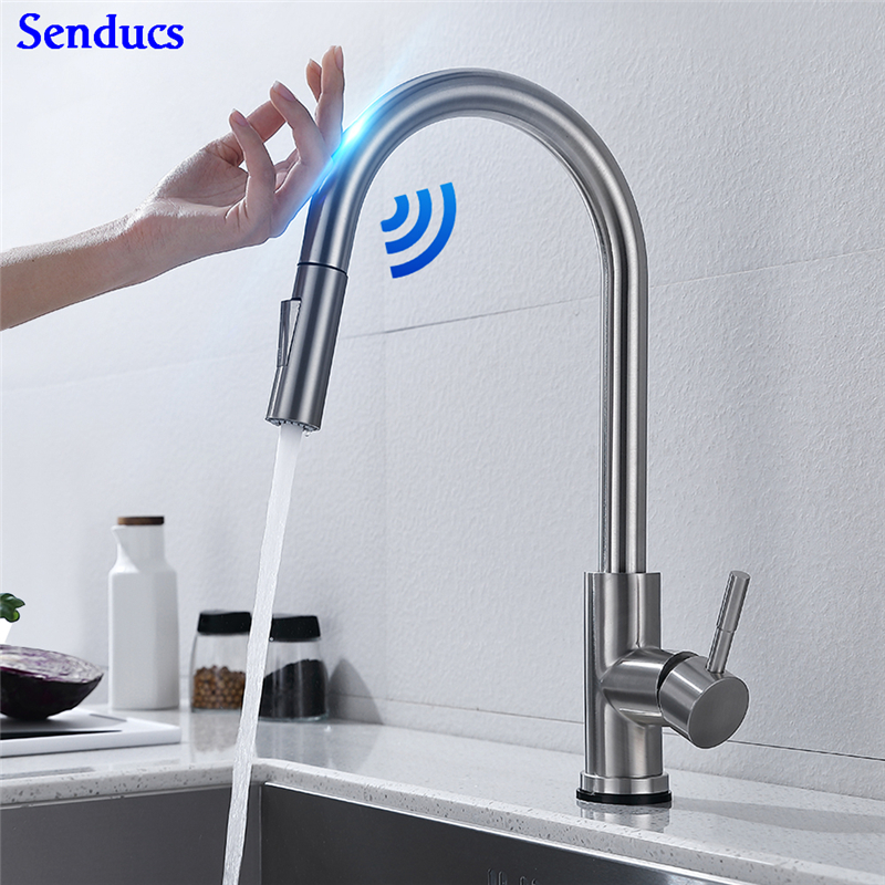 Brushed Touch Kitchen Faucet Senducs 304 Stainless Steel Sensor Kitchen Mixer Tap Pull Down Gold Touch Kitchen Sink Faucets