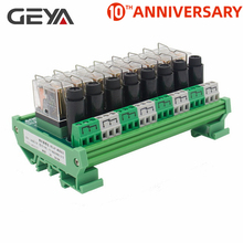 цена на GEYA NGG2R 8 Channel Omron Relay Module for PLC Controller SPDT PLC Relay 12VDC 24VDC with Fuse Protection 8A