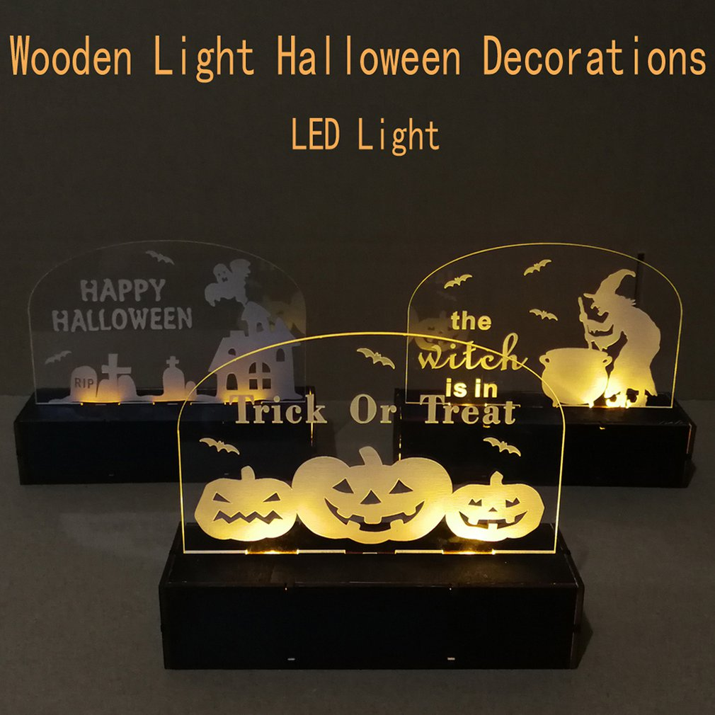 Creative Christmas Decorations Wooden Halloween Acrylic Engraving Haunted House Elf Tombstone Led Light Decor