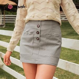 Image 1 - Conmoto 2019 Winter High Waist Skirts Women Button Casual Plaid Female Short Skirt Elegant Pocket Ladies Skirt