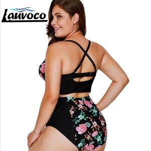 Image 2 - Floral Print Plus Size Women Bikini Set Cut Out Swimwear High Waist Swimsuit 5XL Fat Big Cup Two Piece Bikini Push Up Beachwear