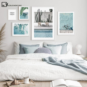 deep blue sea landscape modular print picture wall art canvas paintings decoration for living room unframed Tropical Decoration Canvas Painting Blue Sea Bicycle Landscape Poster Nordic Print Decorative Wall Art Picture Living Room Decor