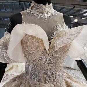 Image 4 - HTL1083 الكرة ثوب الزفاف الفاخرة الكريستال عالية الرقبة قبالة الكتف العروس روب للنوم حجم كبير جديد vestidos دي نوفيا 2020