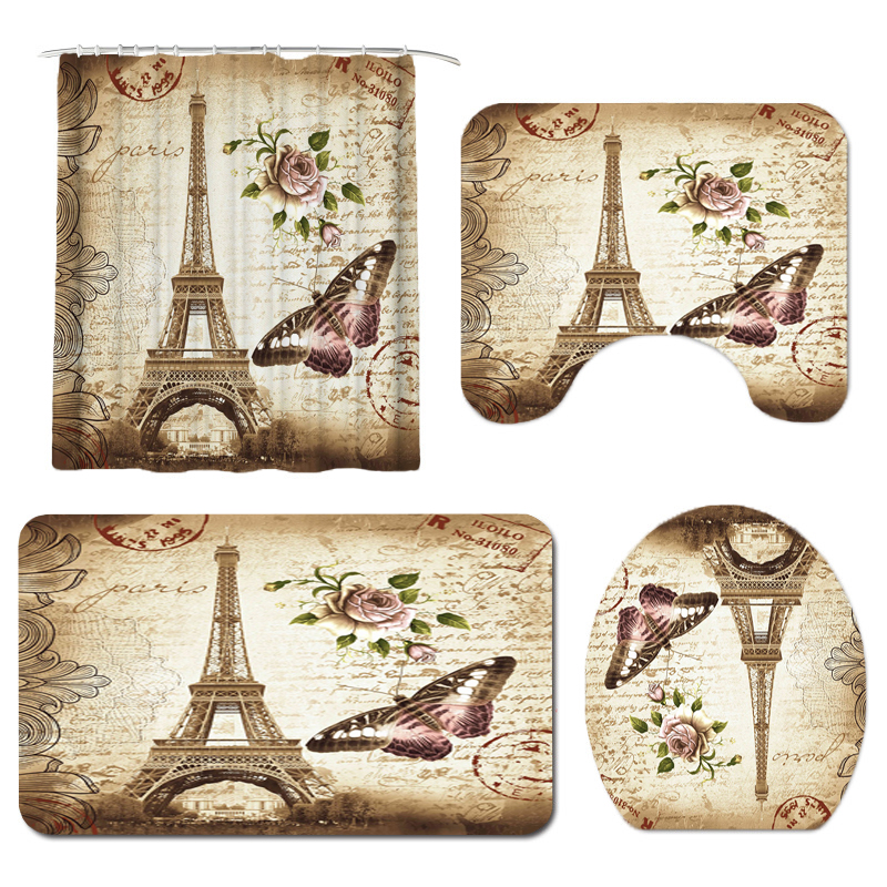 Paris Tower 3D Printed Bathroom Curtain Set Made with Flannel Fabric For Bathroom Use 4