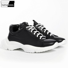 Top Brand Thick Platform Mens Trainers Sneakers Genuine Leat