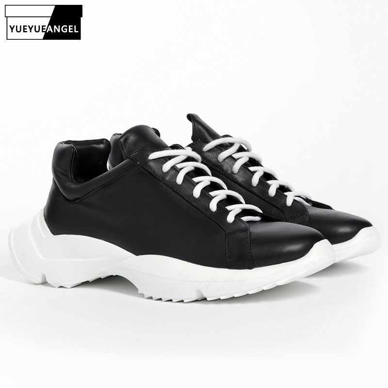 Marca superior plataforma grossa dos homens formadores tênis de couro genuíno rendas acima do punk sapatos casuais alta rua hip hop ferradura sapatos