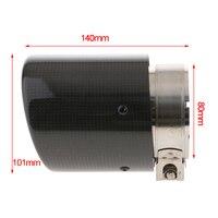 Em: 80mm para fora: 101mm ponta de escape de fibra de carbono traseiro tubo de silenciador preto-mate