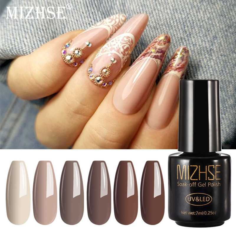 Mizhse 7 Ml Gel Nail Polish UV LED Gelpolish Rendam Off Nail Polish Dasar dan Top Coat Gellak Hybrid Pernis dengan Pernis Poles