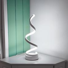 Europejska lampa stołowa spiralna domowe nowoczesne przy łóżku zakrzywione światło eco-friends lampka nocna do salonu dekoracja sypialni tanie tanio VKTECH CN (pochodzenie) Łóżko pokój WHITE Table Lamp Klin Z tworzywa sztucznego Ue wtyczka 86-260V Pokrętło przełącznika