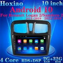 Android 10 автомобиль 9 дюймов 2 Din RDS двойной объектив радио четырехъядерный WIFI GPS Bluetooth Мультимедиа для Renault Logan 2 Sandero 2 2014-2019