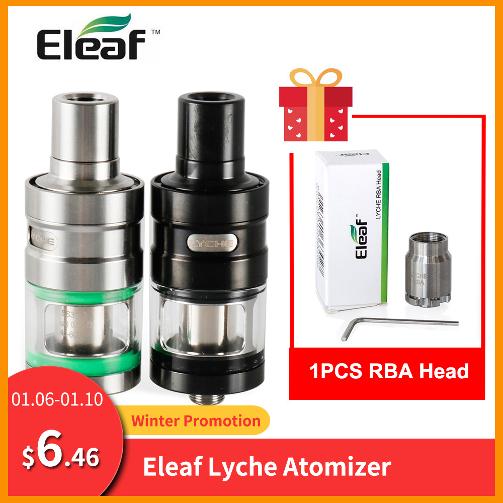 Gift Lyche RBA Coil Original Eleaf LYCHE Atomizer With 4ml Eliquid Capacity Top Airflow Control Side Electronic Cigarette
