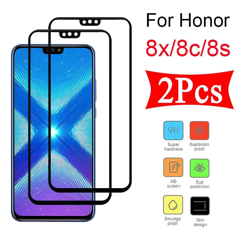 Verre de protection 2 pièces pour Huawei Honor 8x 8c 8s verre trempé protecteur d'écran huawey huawai 8 x c s film de protection complet