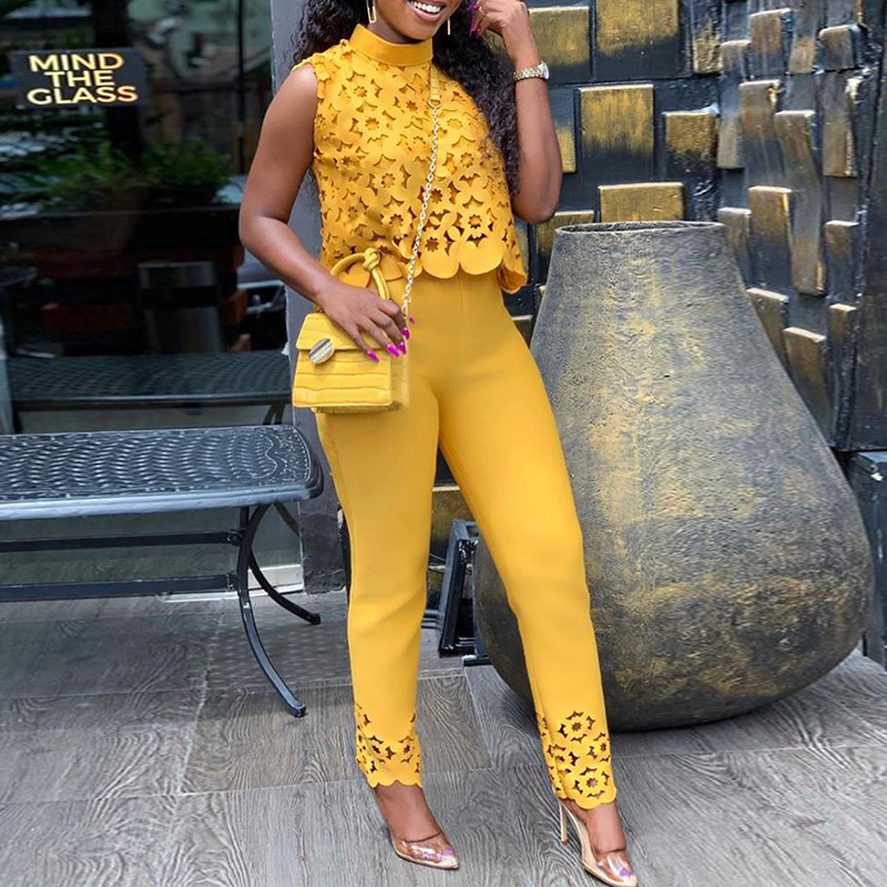 2 Piece Set Women High Neck Lace Hollow Out Top & Pants Two Clothes 2019 And