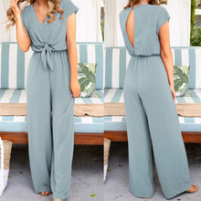 Women V Neck Simple Chic Jumpsuit Fashion Short Sleeve Solid Straight J