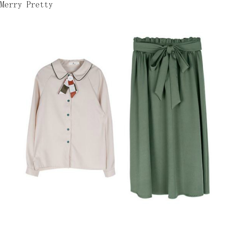Womens Two Piece Set Peter Pan Collar Tie Blouse Hight Waist Knee Length Bow Sashes Pleated Skirt 2020 Spring Top And Skirt