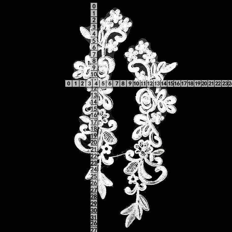Di lusso di Tulle Organza Bianco 3d Fiori Del Ricamo Lacci Corpetto Applique Patch di Abbigliamento Weddig Vestito Guipure Indumento di Cucito Decorazione