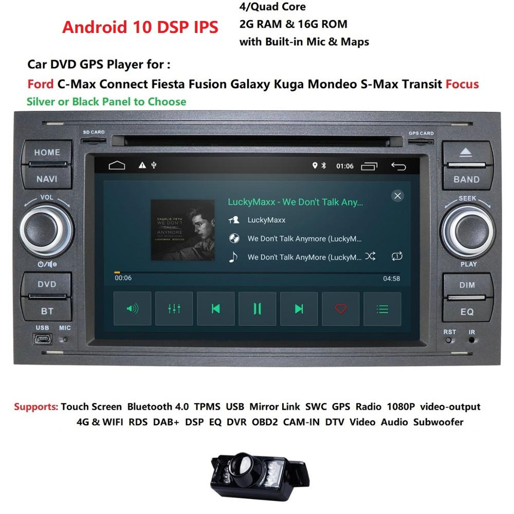 Hizpo 2 Din Android 10 Quad Core Auto Dvd-speler Gps Navigatie Wifi 4G Voor Ford Kuga Fusion Transit fiesta Focus Swc title=