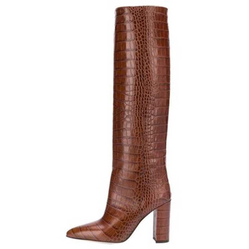 Kadın botları altın timsah derisi doku kabartmalı inek derisi ayakkabı moda zip bayan topuklu 2019 yeni tasarımcı marka bayan ayakkabıları
